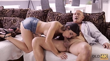 OLD4K. Naughty brunette tempts old man into drilling her butthole 10 min