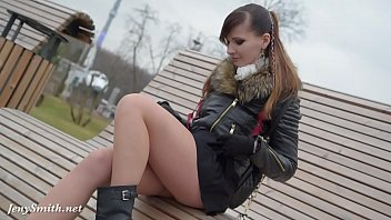 Seethrough voyeur - Jeny smith seamless pantyhose public upskirt