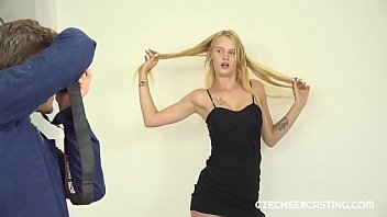 Novice blonde darling shows off in casting