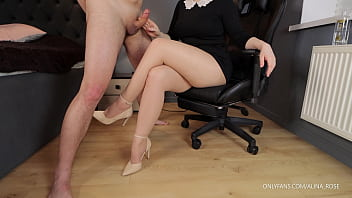 Femdom handjob from teacher with sexy legs in pantyhose
