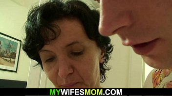 Hairy mother-in-law riding his big dick