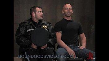 Baldheaded gay fucked by cop in bondage 10 min