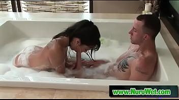 beautiful asian masseuse gives nuru massage - asa akira criss strokes