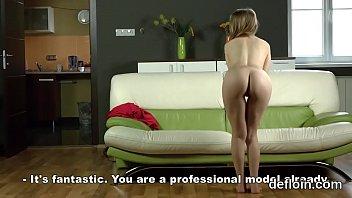 Devirginizing of nude chick juicy slit and masturbating