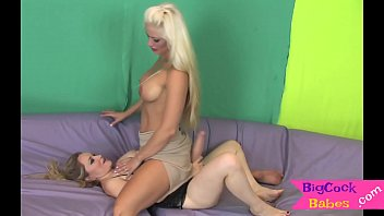 Saphire tranny - Sapphic tranny tugging cock with her tits