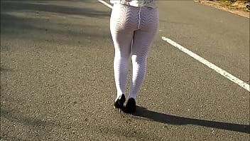Summer upskirt Ass in nylon