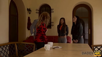 DADDY4K. Girls drilled by moms experienced lover while she is at work 10 min