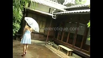 Busty Japanese Girl Rin Aioki Spends A Rainy Day In A Very Low Cut Dress