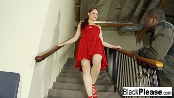 Redhead hottie Jessica has interracial fun on the stairs