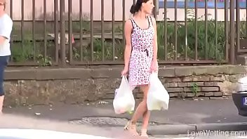 Ladie peeing - Bursting to pee, young lady cant hold it outside of her house