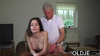 Old and Young Porn - Babysitter pussy fucked by old man and swallows cum thumbnail