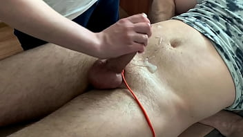 Bounded cock edged to eruption - blocked orgasm