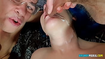 I Cum in the Mouth of the YOUNG GIRL and then her Cuckold Husband Fucked her