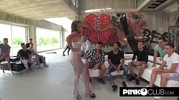 Malena and her first GangBang! A real slut 11 min