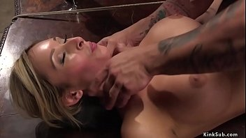 Blonde slut in rough fucked in bondage