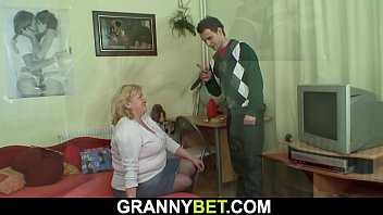Huge grandma rides his horny cock