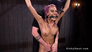 Purple haired slave squirts in bondage 5 min