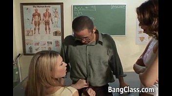 Teacher fucking 2 sexy schoolgirls