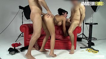 AMATEUR EURO - Big Boobed Suhaila Hard Fills Her Halls With Two Dicks