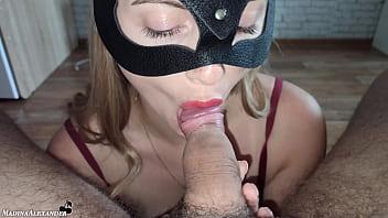 Sexy Girlfriend Passionately Sucks Dick and Cum Swallow