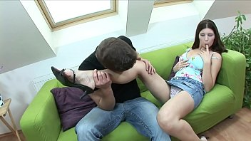 Gorgeous brunette Simi with awesome tits works her man's cock with her mouth and twat