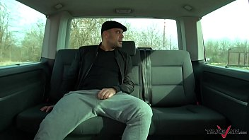 Russian convinced in parking lot ride big cock well in driving van