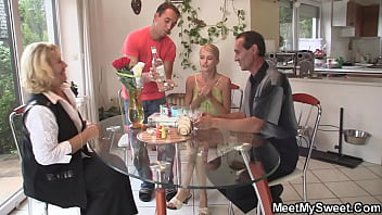 Old couple and teen family threesome orgy