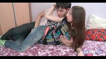 Sweet teen brunette enjoys a wet pussy fuck
