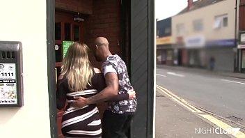 Interracial Couple Fucks In A Pub's Toilet
