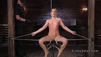 Tight bod slave paddled in bondage