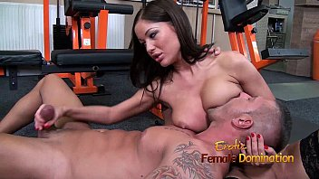 Erotic female bondage fucking Angelica heart smothers her slave with her breasts