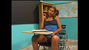 Horny teacher gets sucked and plunges shlong in studnt's pussy
