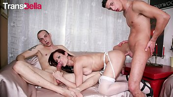 TRANSBELLA - Latina Tranny Isabella Branco Takes Two Cocks In Her Tight Ass