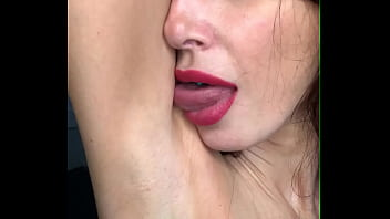PornStar Liza Virgin Licks her armpits spits on them and on her big tits