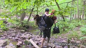 French couple fucks sucks in the forest