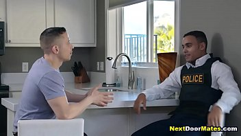 Latino gay cop makes his snitch suck & fuck his cock
