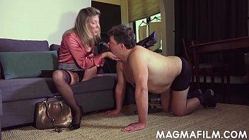 Dominatrix uses slave for her anal pleasure