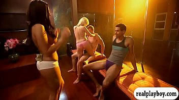 Two hot ladies having fun in pole daning with the guys