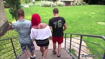 Deutsche Monster Titten MILF mit roten Haaren beim Dreier - German Big Tit Redhead Tattoo MILF Seduce to Fuck by two Boy