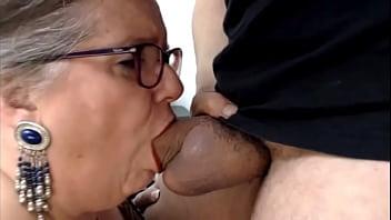 Fat Granny Deepthroats Cock