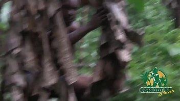 Juicy Caribbean bbw milf fucks young nigga in forest thumbnail