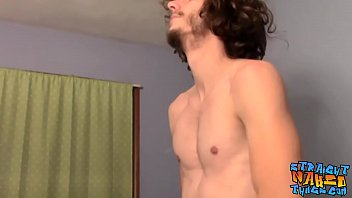Straight man jerking off before busting the fattest nut ever