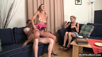 m.-in-law rides my cock and wife watches