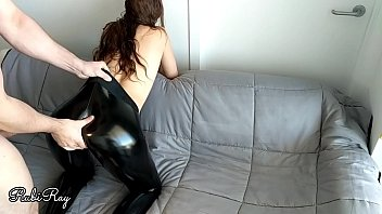 Babe fucks doggy in her ripped latex leggings - leather pants fetish 12 min