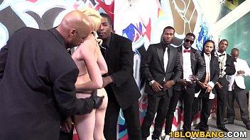 Miley May Enjoys Interracial Gangbang With Bukkake