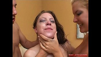 Barbara Summer and Christie Lee get their faces fucked hard. Extreme deep throat gagging.