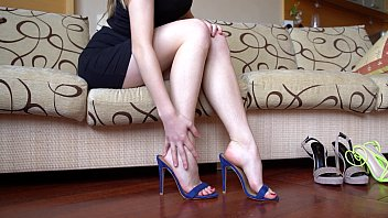 Sexy Feet Tease In High Heeled Mules
