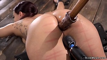 Hot brunette anal toyed in device bondage preview image