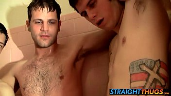 Four straight thugs jerking their big cocks in the bathroom