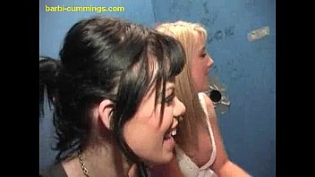 Gia blowjob in her bunny ears - Two white babes at a glory hole